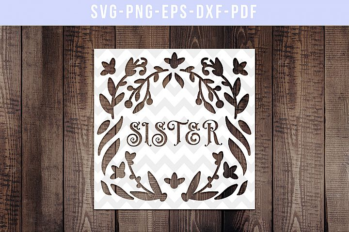 Sister Papercut Template, Family Clip Art, SVG, PDF, DXF