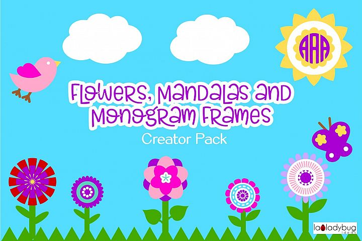 Flowers, mandalas and monogram frames creator pack.