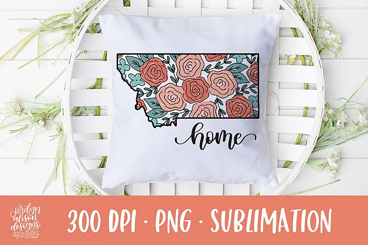 Home Montana, Coral Roses Sublimation Design