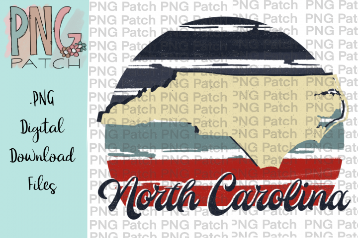 Retro Red, White, and Blue, North Carolina, State PNG File