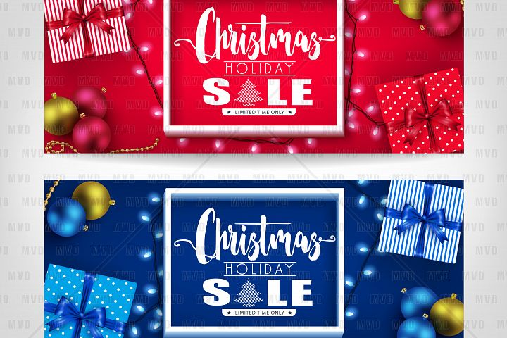 Christmas Holiday Sale Realistic Banners with 3D Frame