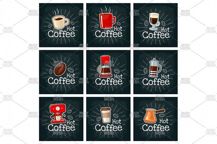 Set coffee. Vector color flat icon on the black chalkboard