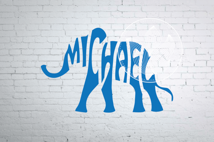 Michael Word Art elephant shape, Michael elephant jpg, png
