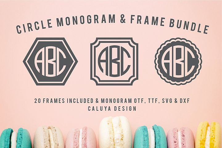Circle Monogram Font & SVG Cut file | 20 Frame Designs Bonus