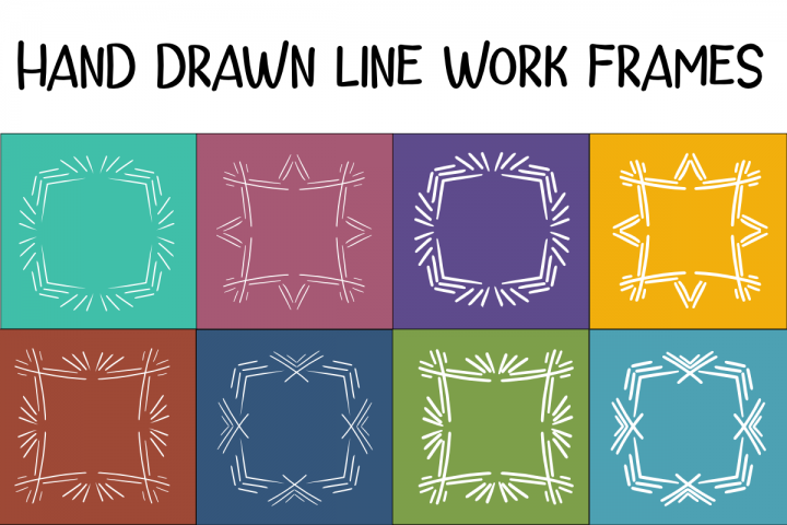 Hand Drawn Line Work Frames / Photo Overlays