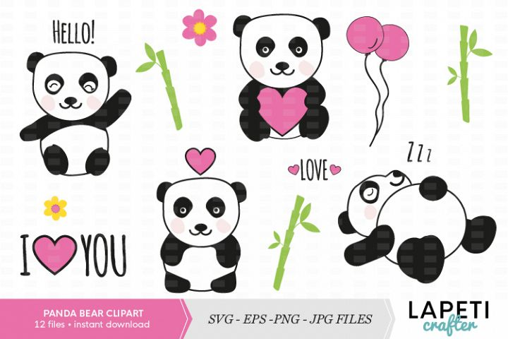 Cute panda bear clipart set