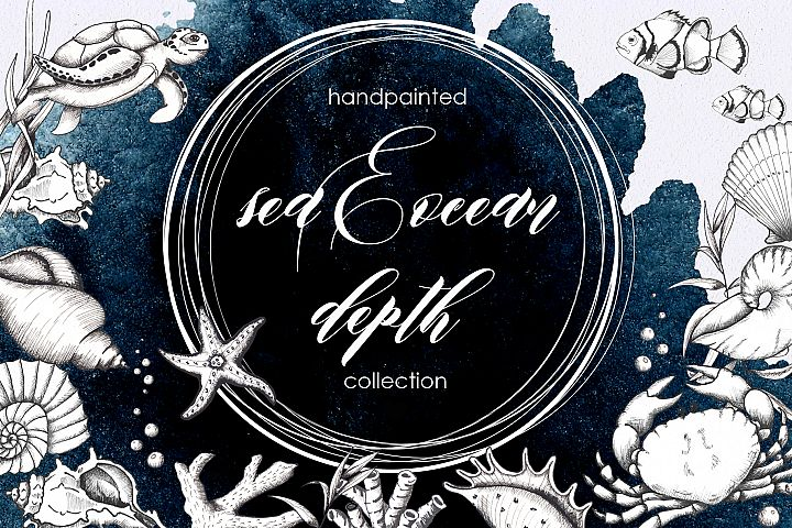 Ocean sea watercolor and graphic handpainted collection