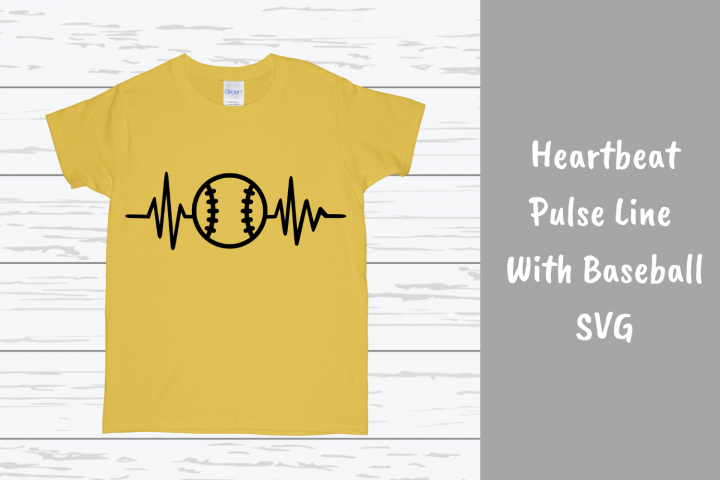 Heartbeat Pulse Line With Baseball SVG
