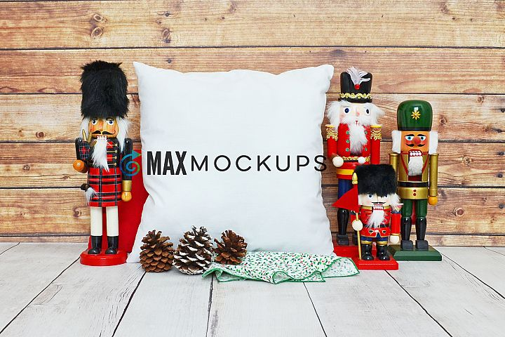 Pillow Mockup, Christmas nutcrackers, styled stock photo