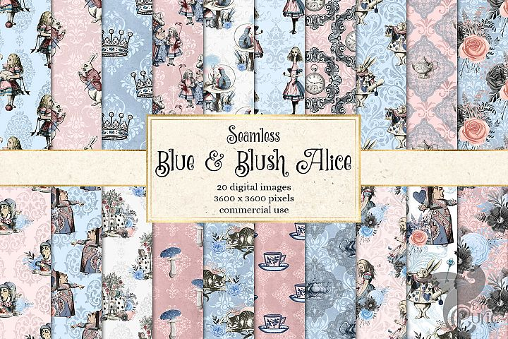 Alice In Wonderland Blue and Blush Digital Paper