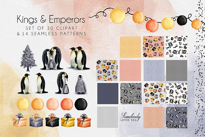 Christmas Penguin Sublimation Clipart and Seamless Patterns