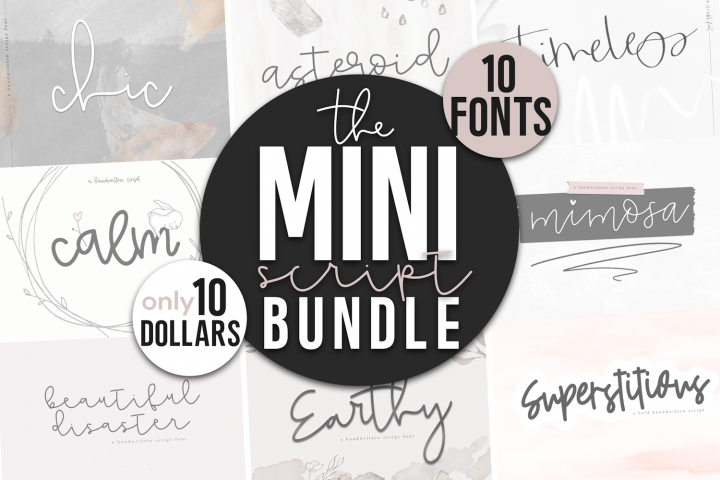 Mini Handwritten Script Font Bundle - 10 Fonts