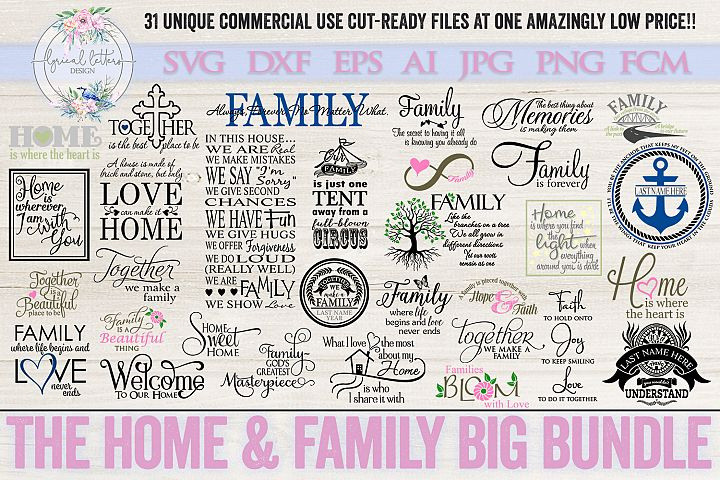 Home & Family Big Bundle of 31 SVG Cut Files