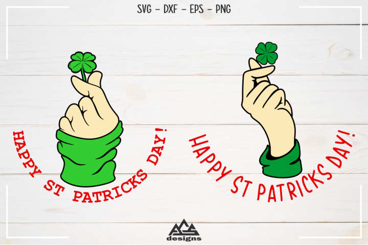 Happy St Patricks Day Shamrock Hand Gesture Svg Design