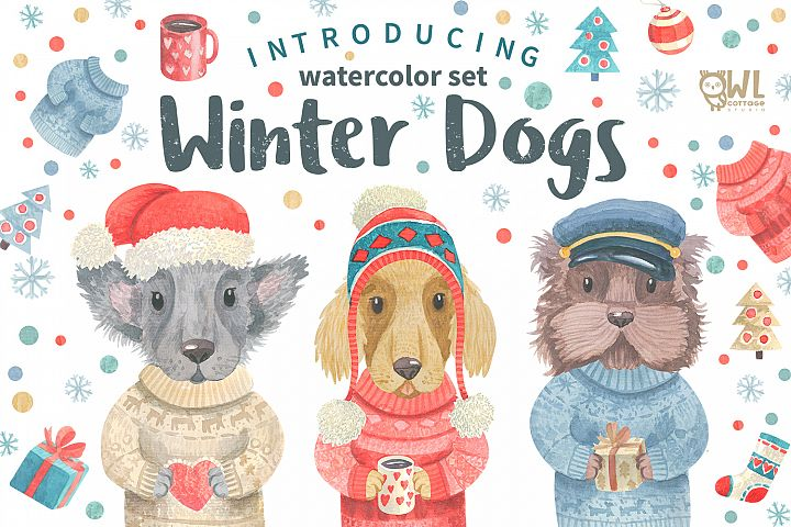 Winter Dogs Watercolor Clipart Collection