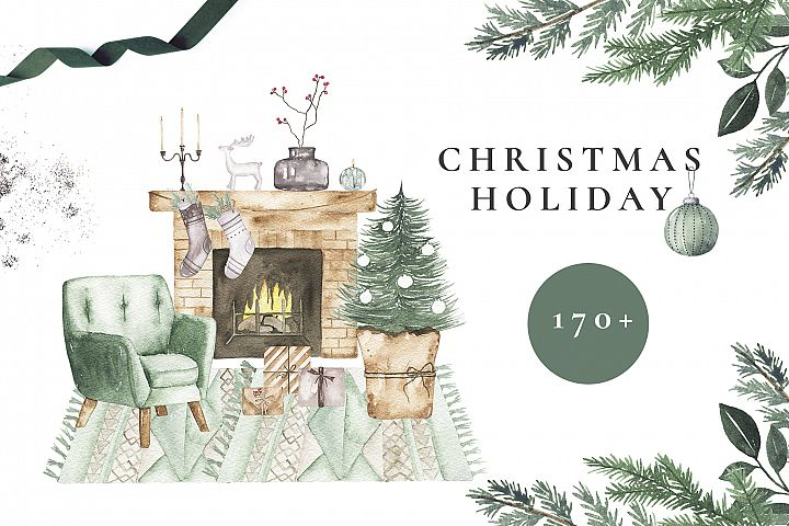 Watercolor Christmas Holiday set