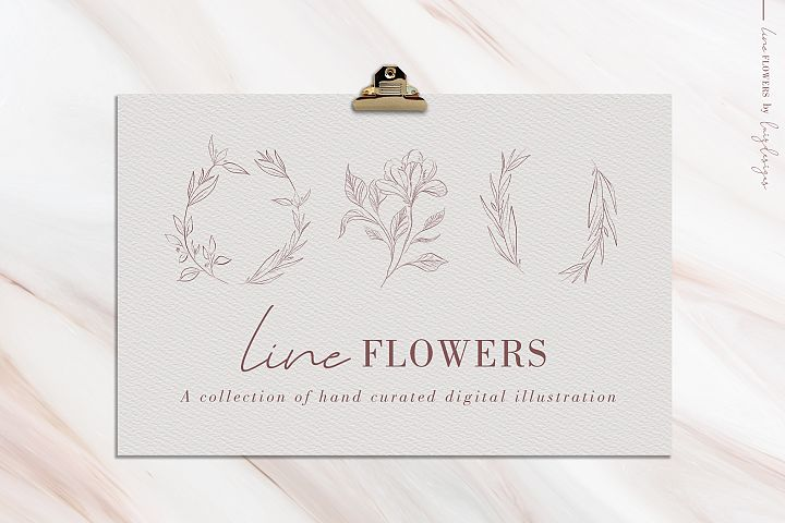 Line Flowers| Leafs Clipart
