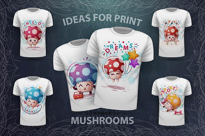 Cute cartoon mushrooms