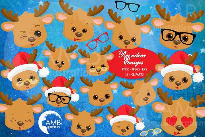 Reindeer clipart, reindeer emojis, emoticons,AMB-2696