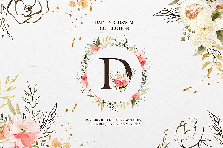 Dainty Blossom Collection, spring clipart, floral alphabet