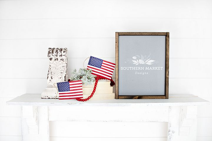 Patriotic Summer Wood 11x14 Sign Mock Up Stock Photo