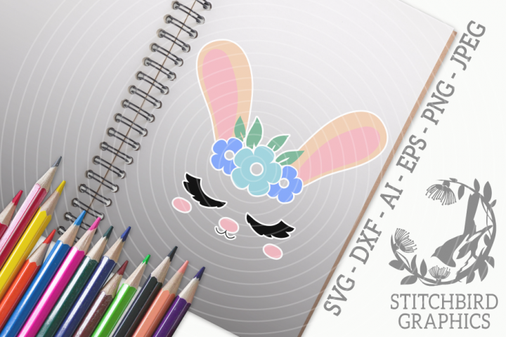Bunny Rabbit Head 1 SVG, Silhouette Studio, Cricut, Eps, Dxf