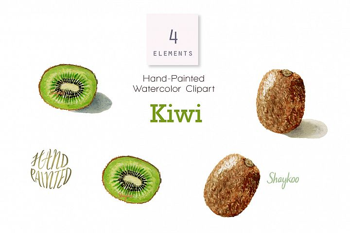 Kiwi Fruit Watercolor Clipart, Whole and Half Kiwi Fruit