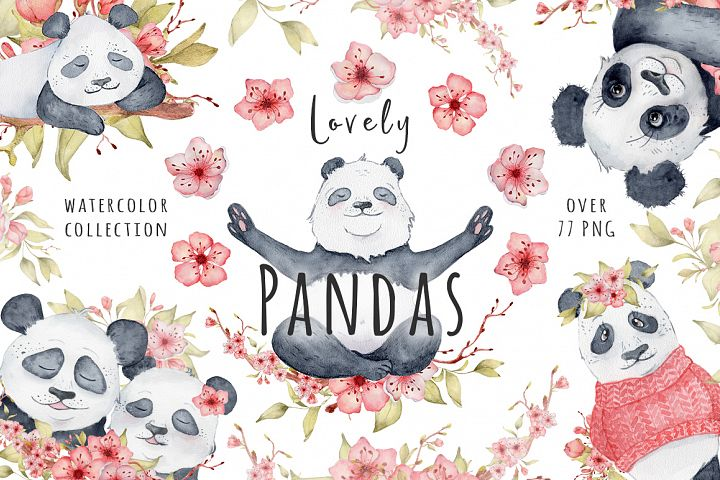Lovely Pandas and Sakura watercolor set