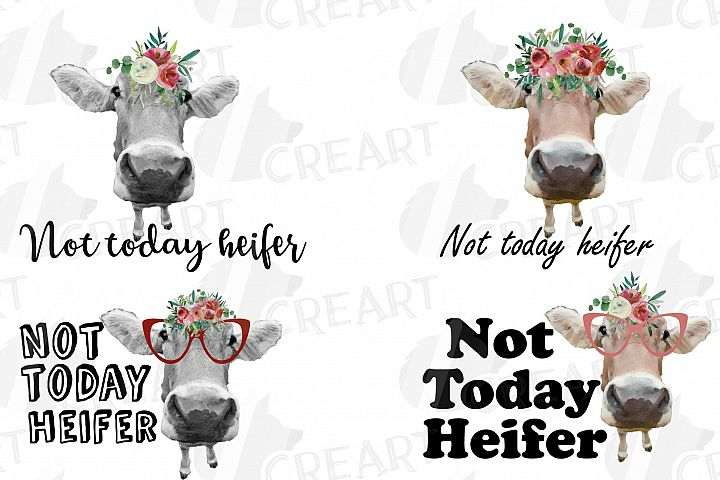 Not today Heifer printable shirt, mug, card floral cow png