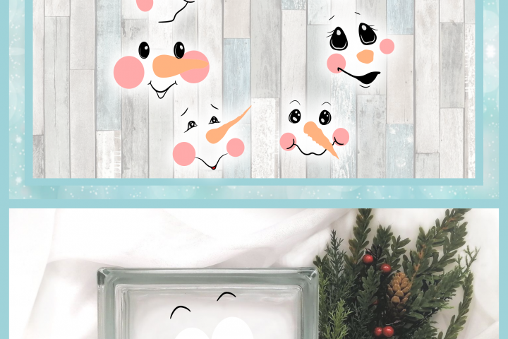Snowman Face Bundle SVG Dxf Eps Png PDF Files for Cricut example 3