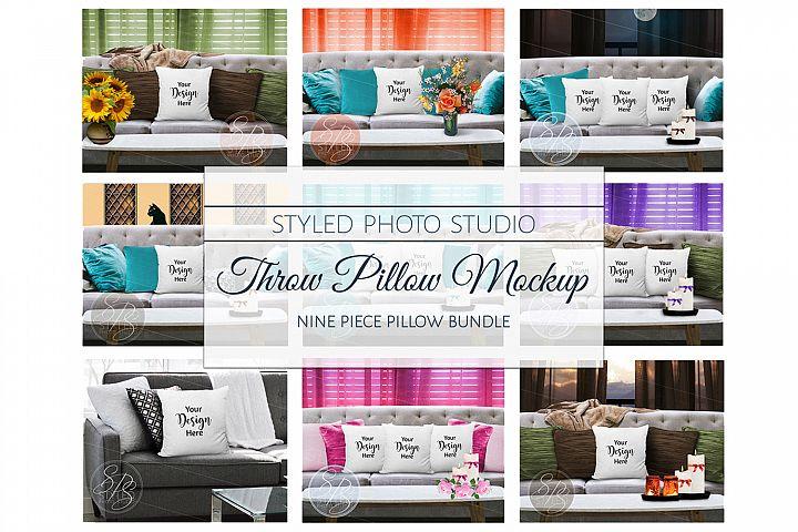 White Throw Pillow Mockup Bundle, Pillow Mock Up Set 9 JPGs