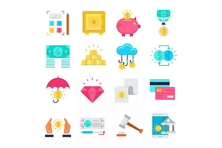 Banking flat icons set
