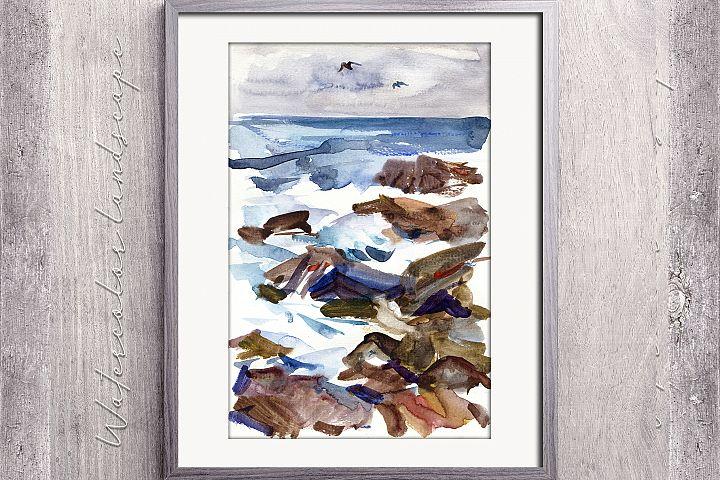 Watercolor sea waves
