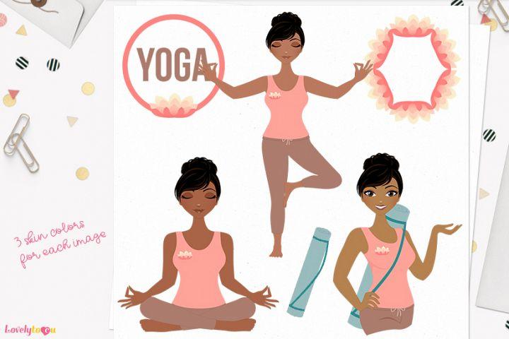 Woman yoga character clip art (L140 Jewel)