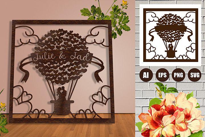 Frame Wedding Hearts Balloon Paper Cut SVG, AI, EPS