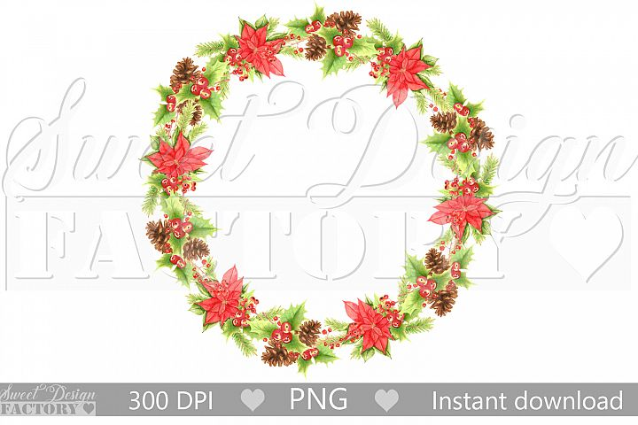 Watercolor Christmas flowers wreath clipart