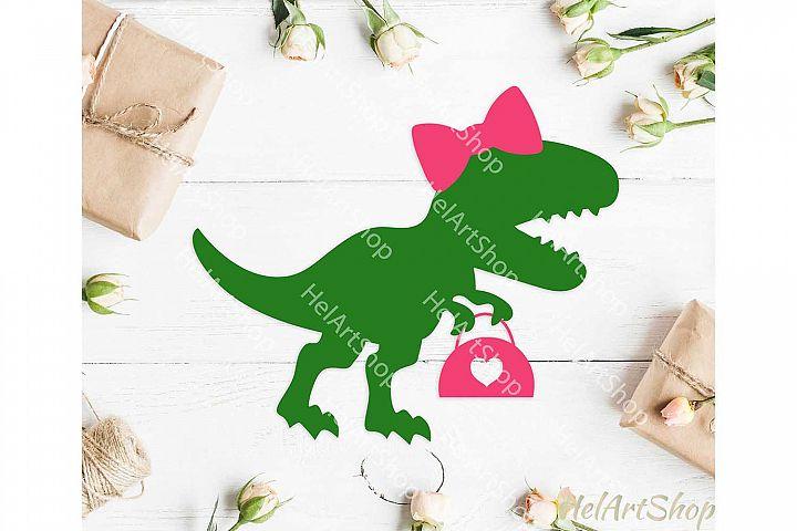 Girl dinosaur svg, t rex svg, dinosaur with bow svg