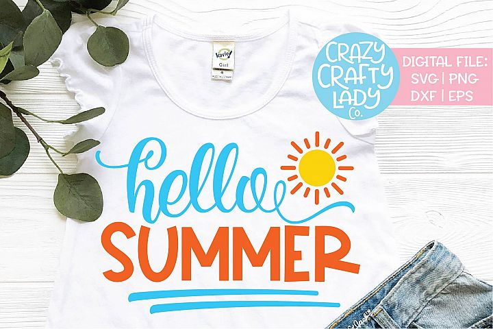 Hello Summer SVG DXF EPS PNG Cut File