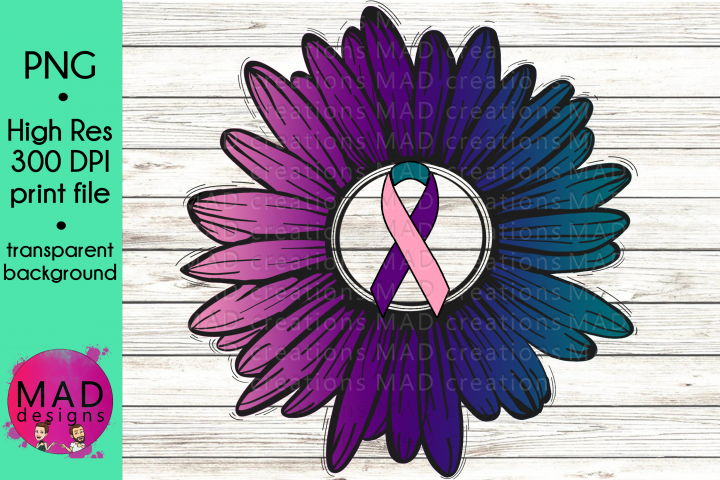 Thyroid Cancer Awareness - Rustic Sunflower Ribbon