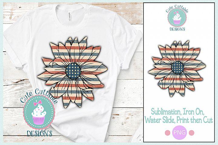 Patriotic American Sunflower png USA flag sublimation design