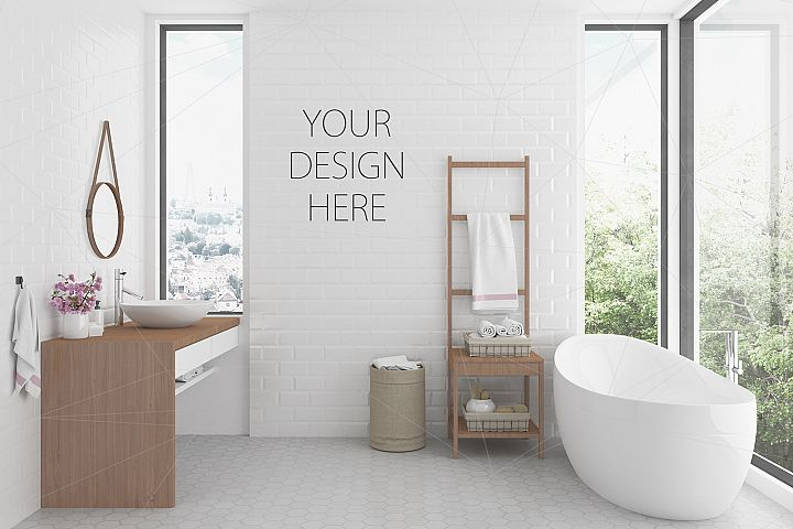 Interior mockup bundle - bathroom background