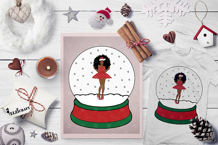 Christmas, Snow Globe ,Afro Woman, Santa Hat SVG Cut File
