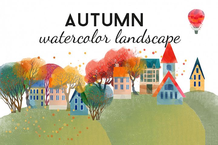 Autumn watercolor landscape