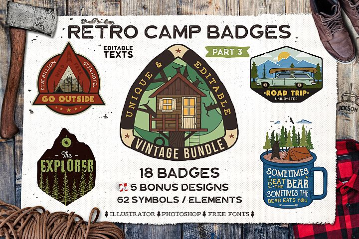 Retro Camp Badges | Adventure Patches. Part 3 | SVG Cut File