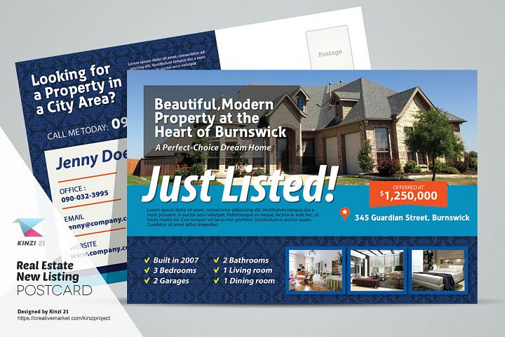 Real Estate New Listing Postcard Template