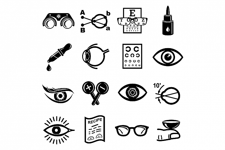 Ophthalmologist icons set, simple style