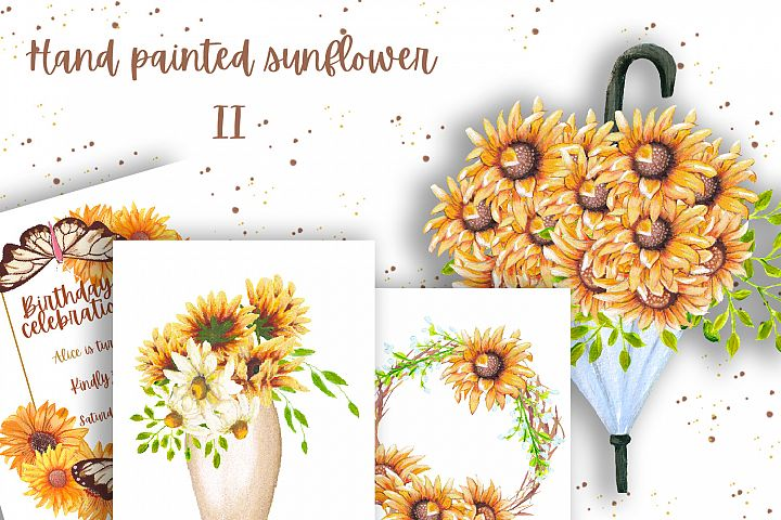 Hand painted sunflower collection II
