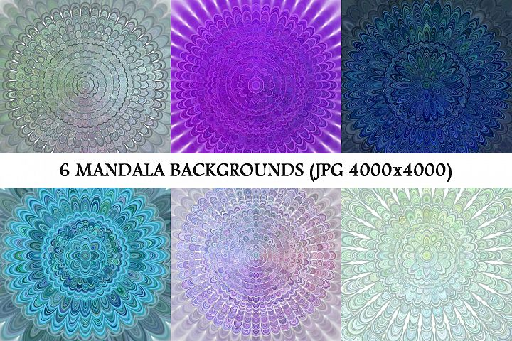 6 Floral Mandala Backgrounds