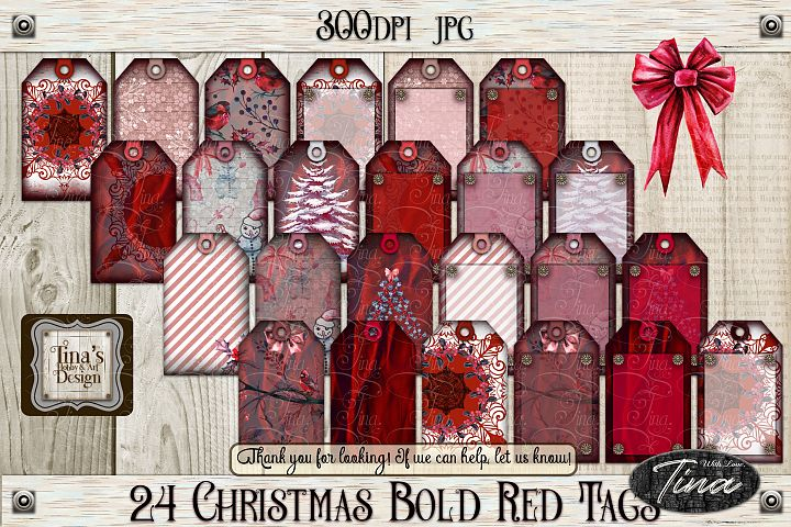 24 Beautiful Christmas Tags - Bold Red 103018T