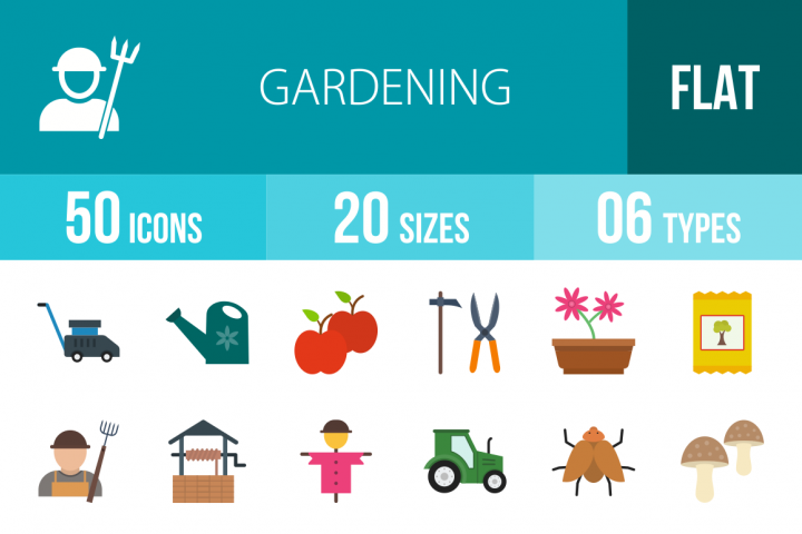 50 Gardening Flat Multicolor Icons Season II